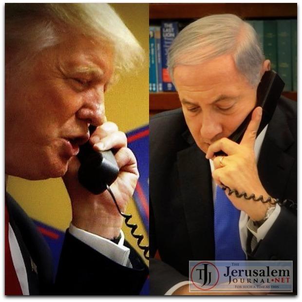 59c02e17950c Combined Trump and Netanyahu on phone Photos Twitter and Israeli GPO LOGO